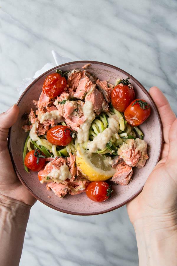 Tahini Salmon and Zucchini Bowl