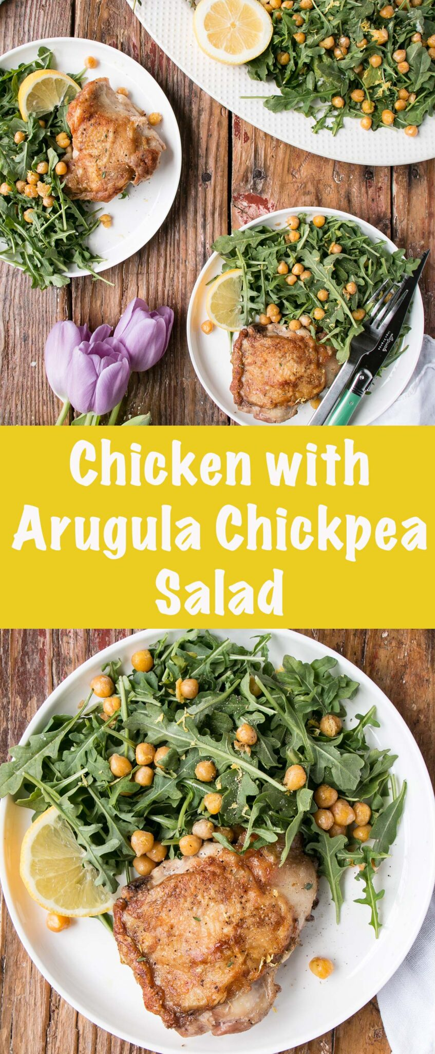 Only a handful of ingredients stand between you and this delicious Chicken with Arugula Chickpea Salad. #chicken #salad #glutenfree