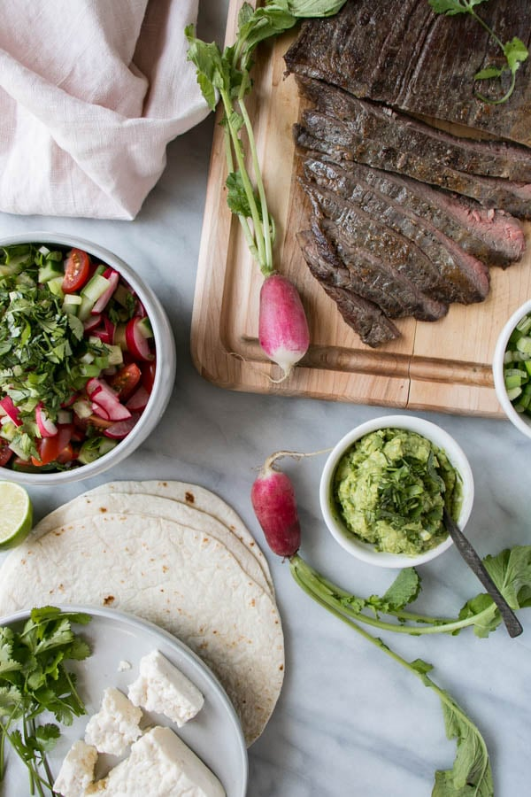 Flank Steak Tacos with Radish Salsa. Whip up flavourful and family pleasing tacos in under 20 minutes with these mouthwatering flank steak tacos!