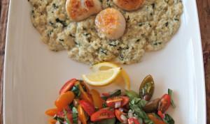 My Kitchen Love - Seared Scallops w/ corn-basil puree and tomato salad