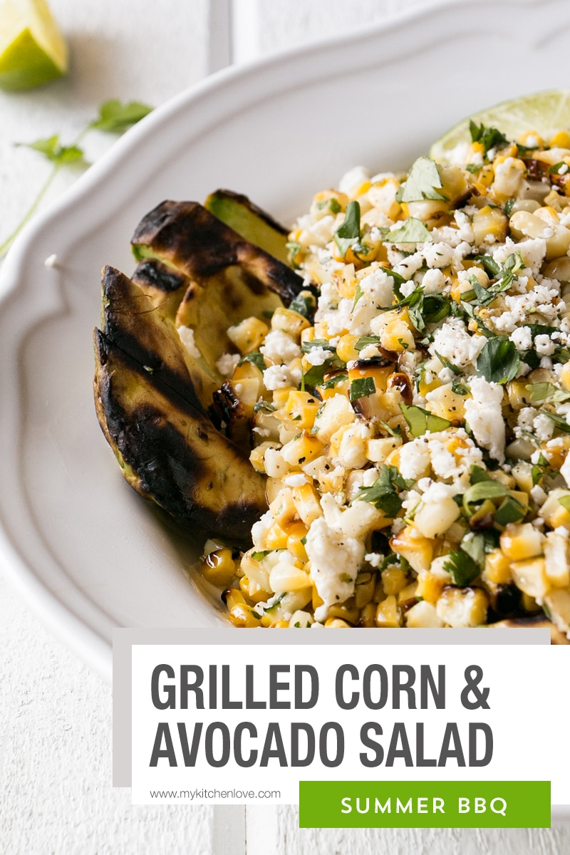 Bright grilled corn salad with avocados and cilantro lime dressing. This Corn Salad is perfect for summer meals, BBQs, and potlucks. via @mykitchenlove