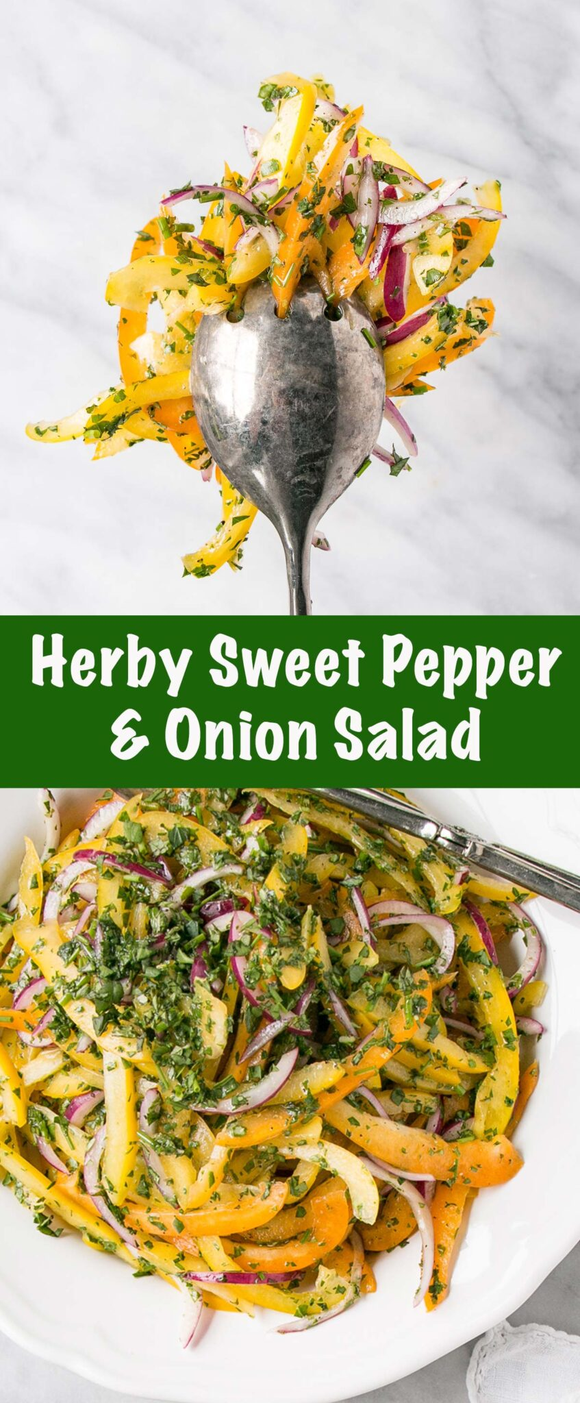Herby Sweet Pepper and Onion Salad long collage.