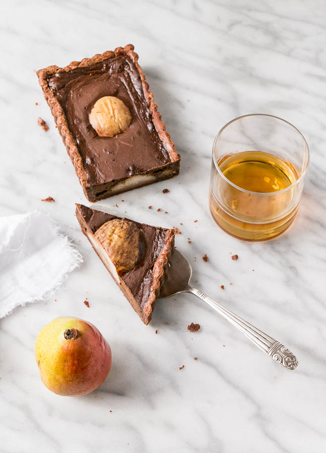 Chocolate, Pear, and Whiskey Tart