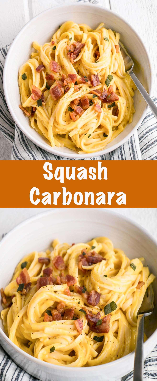 Squash Carbonara with Crispy Pancetta and Sage - long pin