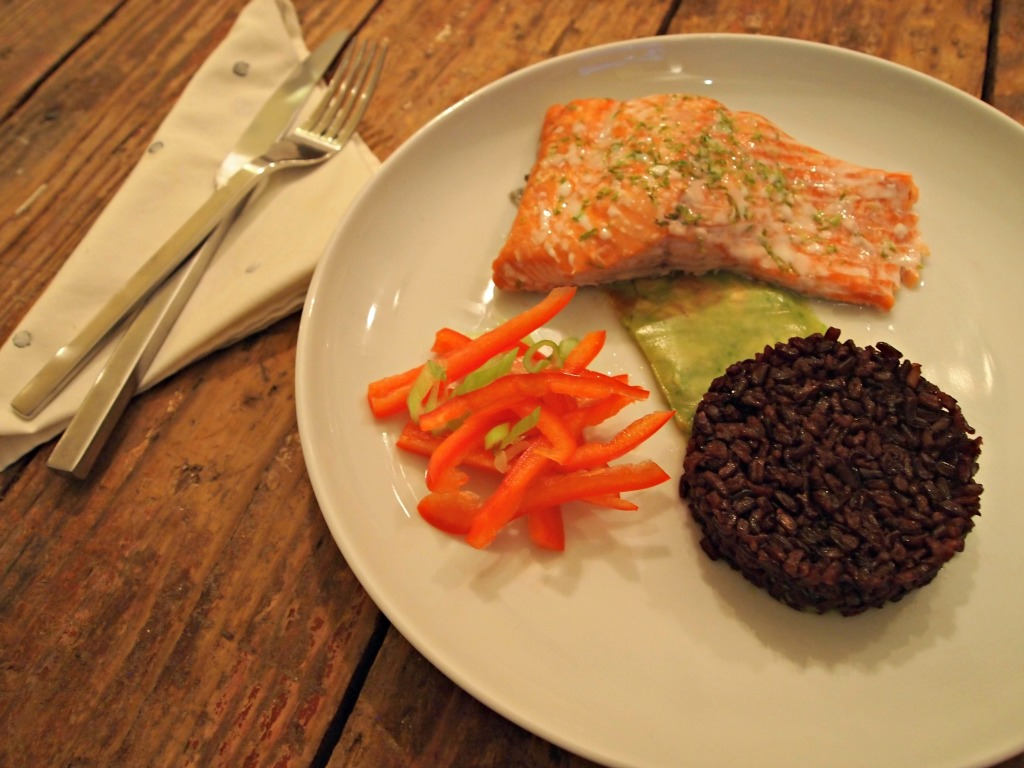 Citrus Salmon, Coconut Black Rice, and Pressed Lime Avocado