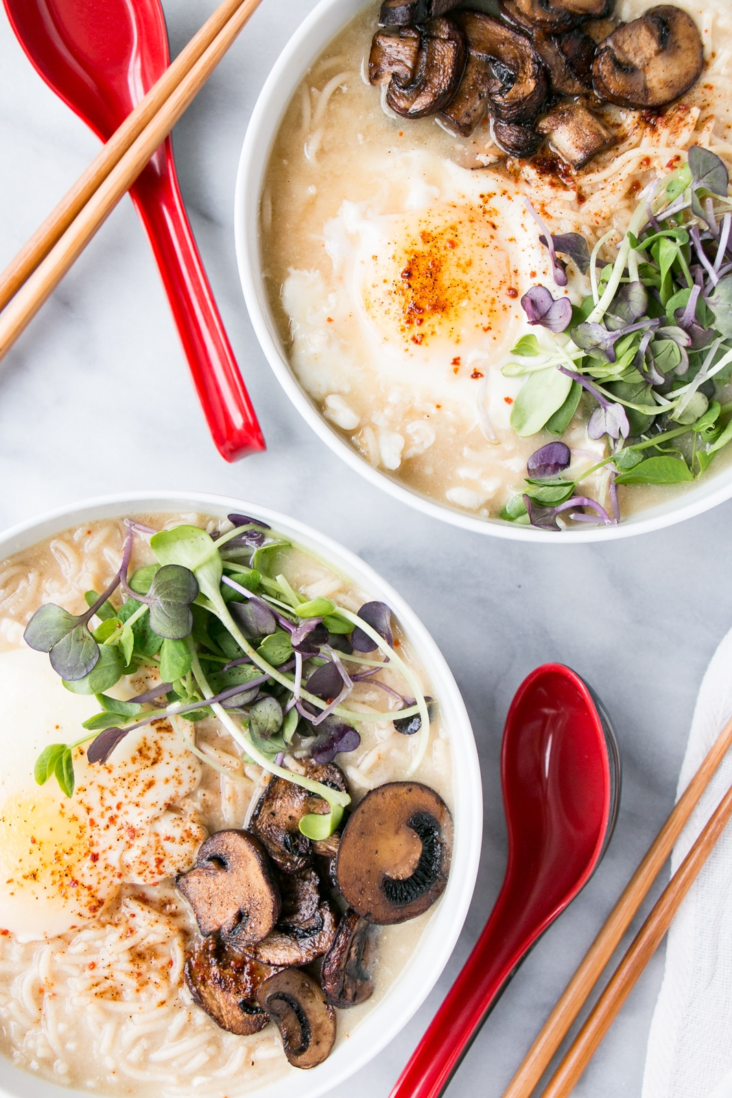 """""""Instant"""" Miso Ramen is the quick and easy answer to Meatless Mondays! Made in under 15 minutes, these flavourful noodles are topped with a poached egg and vegetables. PLUS, it's a ONE POT meal!"""