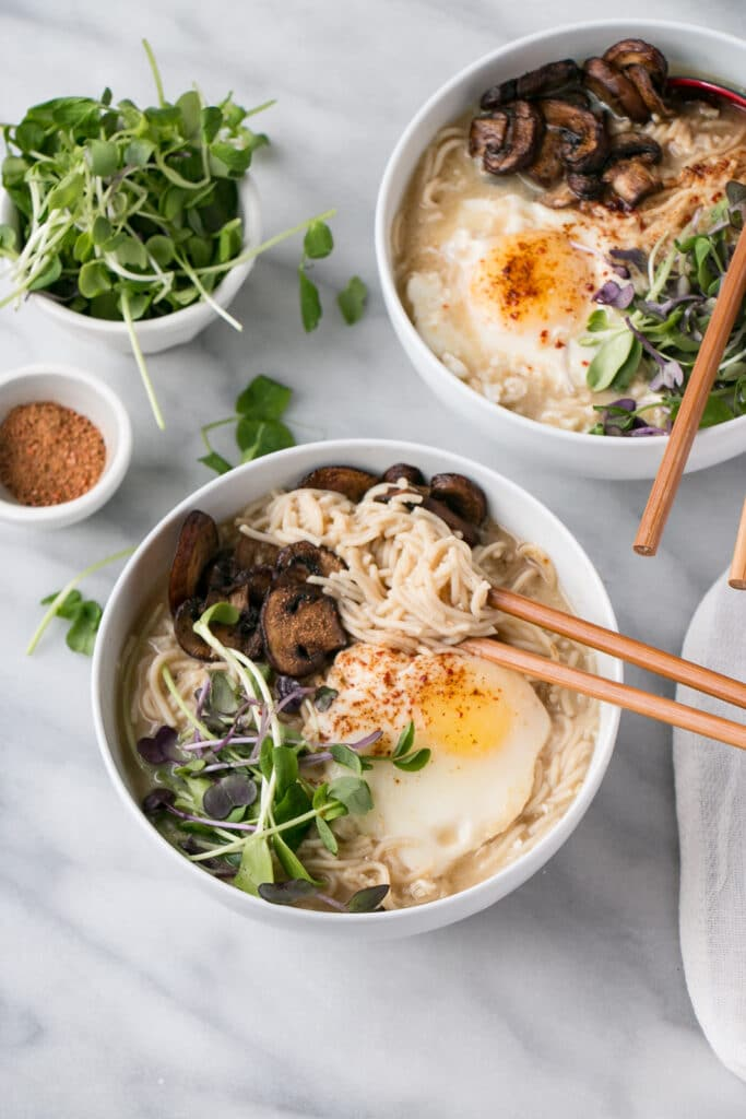 """Instant"" Miso Ramen is the quick and easy answer to Meatless Mondays! Made in under 15 minutes, these flavourful noodles are topped with a poached egg and vegetables. PLUS, it's a ONE POT meal!"