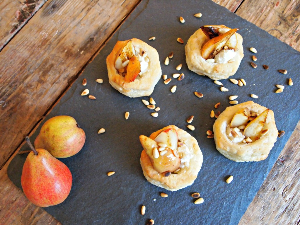 Pear and Goat Cheese Puff Pastries