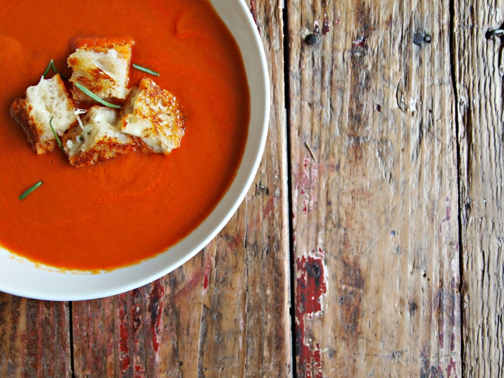 Creamy Tomato Soup with Rosemary Fontina Grilled Cheese Croutons