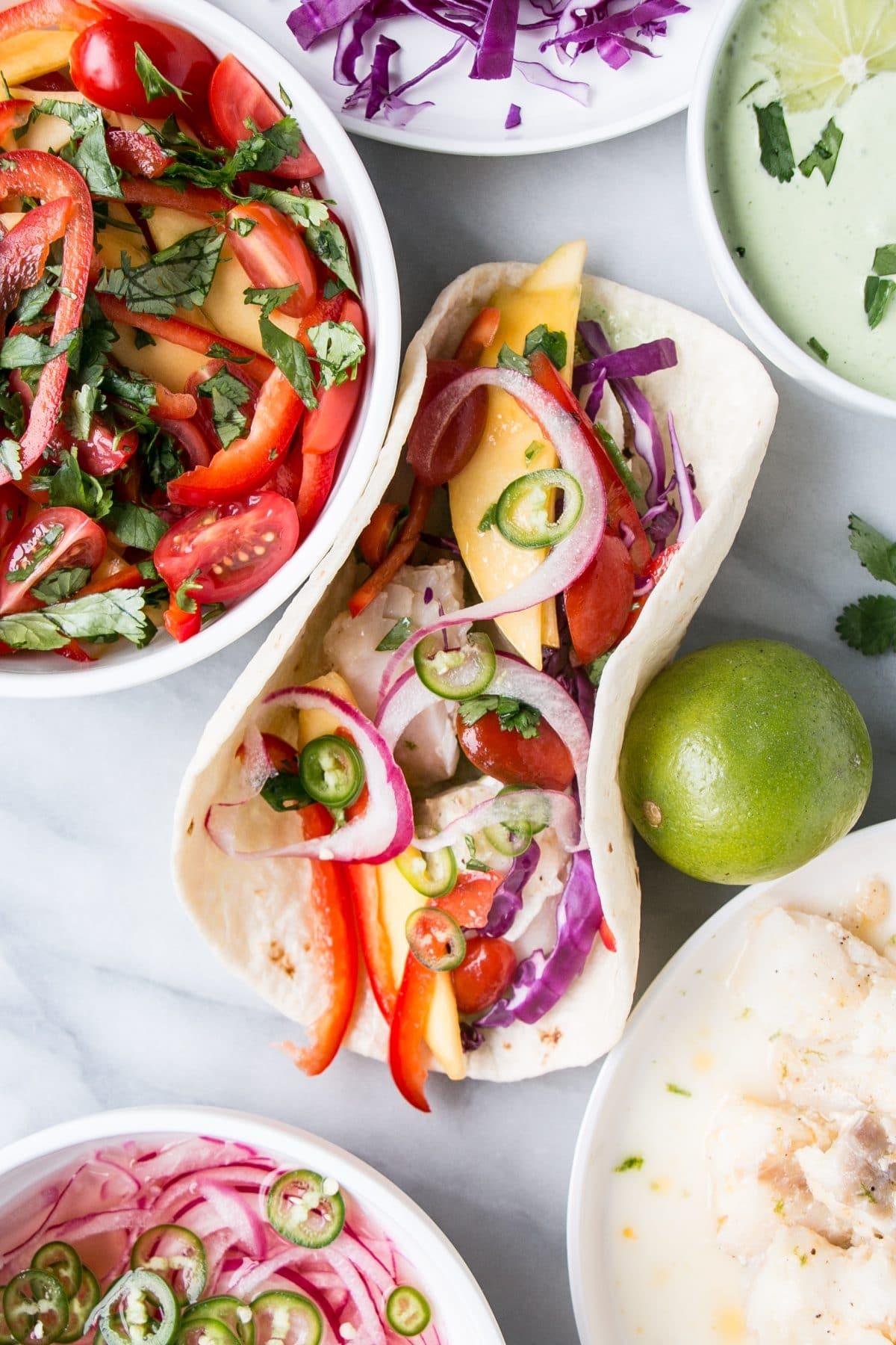 Fresh Lime & Chilli Fish Tacos with Mango Salsa! #tacos #fishtacos #healthymeal