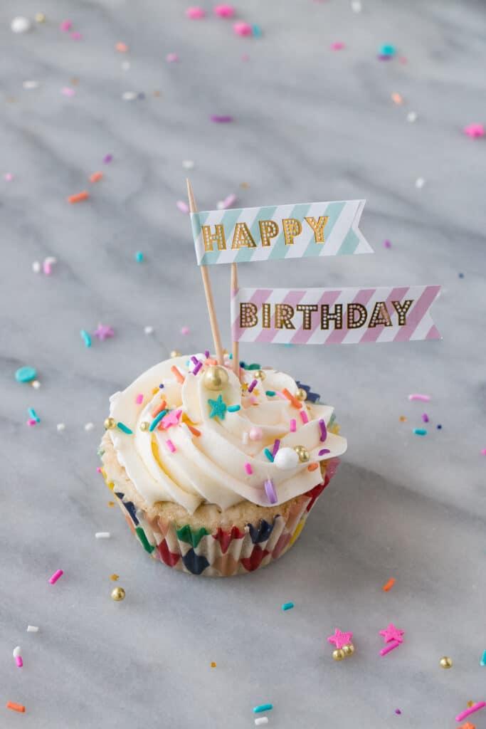 Momofuku Milk Bar Cake turned Birthday Cupcakes.