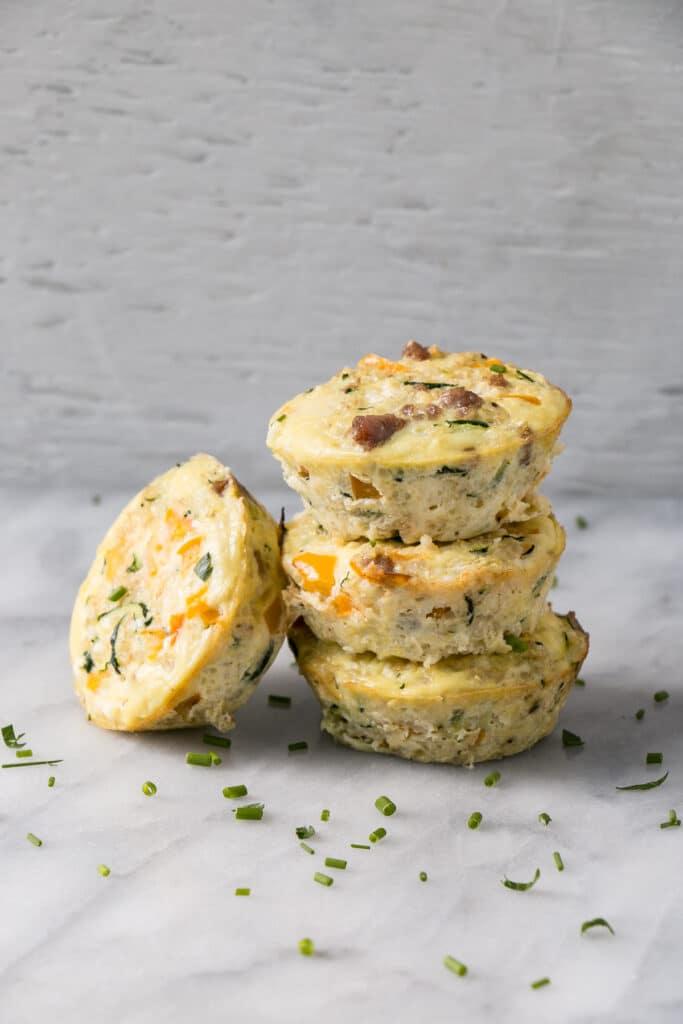 Quinoa Frittata Muffins in a stack
