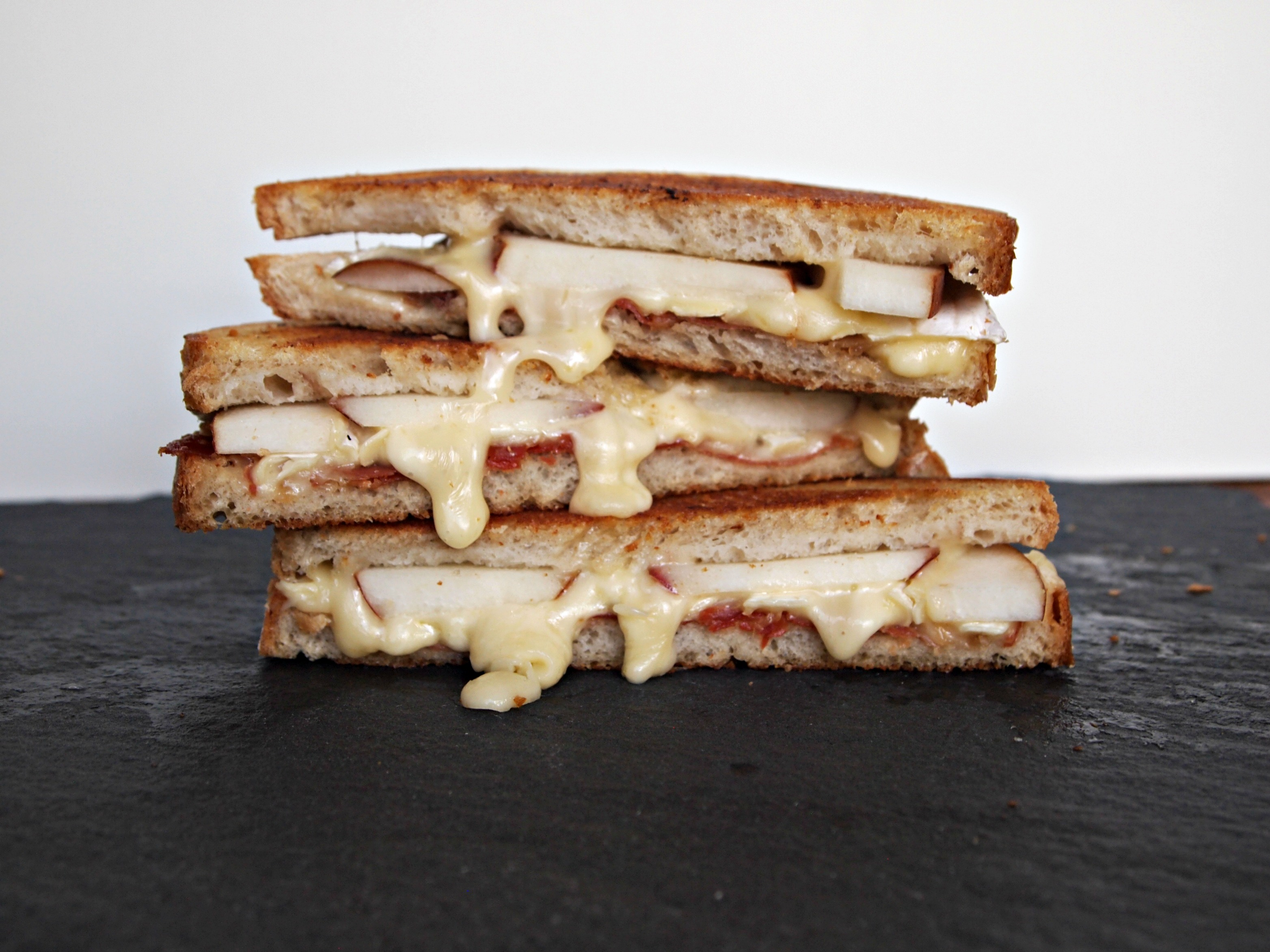 My Kitchen Love Blog - Brie, Prosciutto, and Pear Grilled Cheese