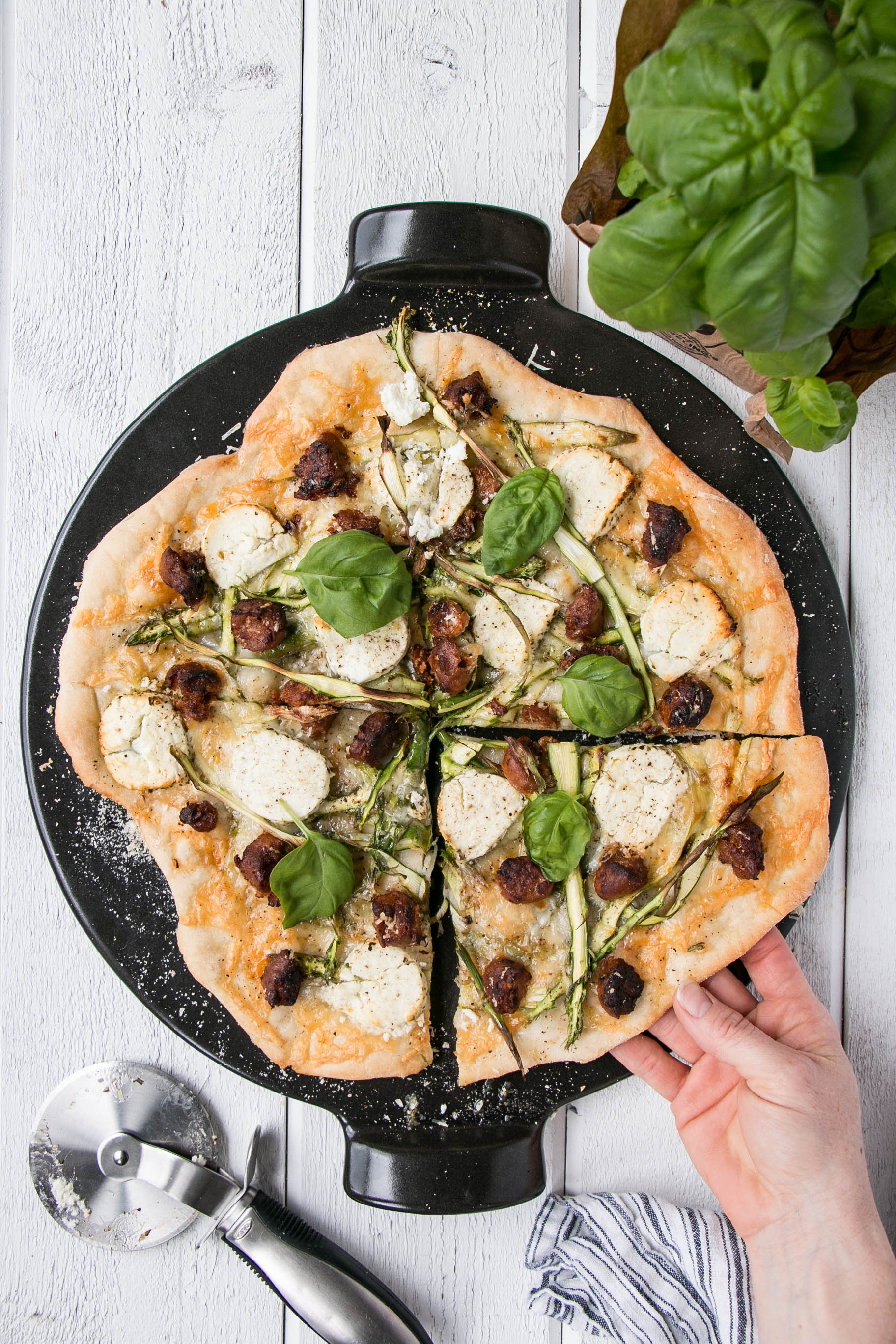 Chorizo, Asparagus, and Goat's Cheese Pizza