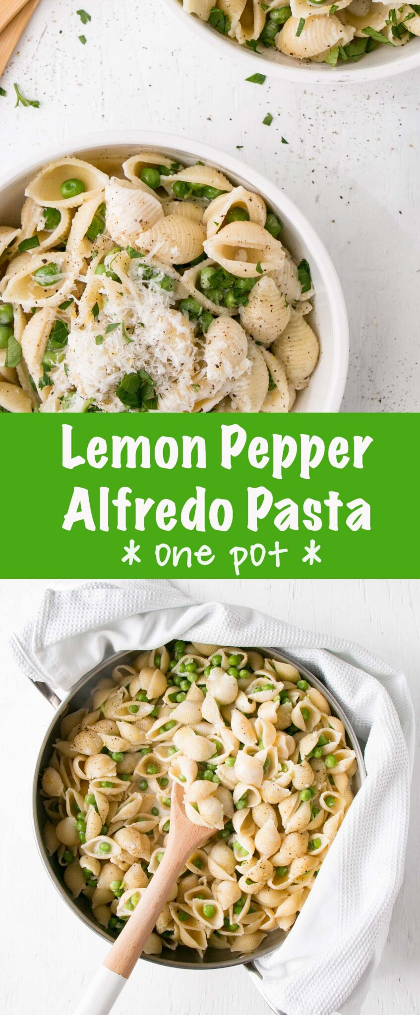 Lemon Pepper Alfredo with Peas long collage