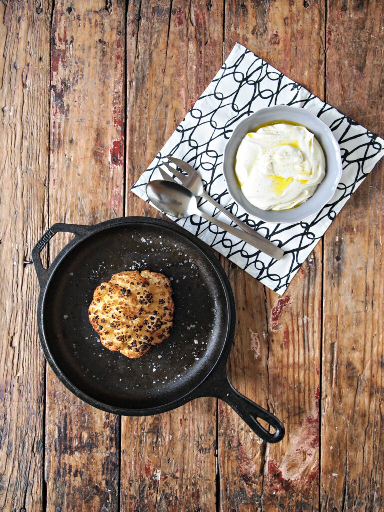 Whole Roasted Cauliflower with Whipped Goat's Cheese