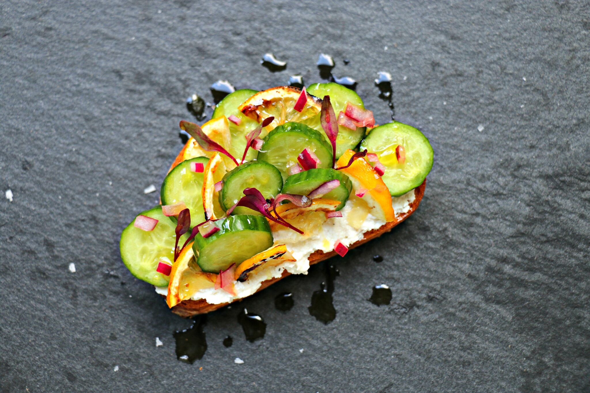 Cucumber, Roasted Lemon, and Ricotta Crostini 4