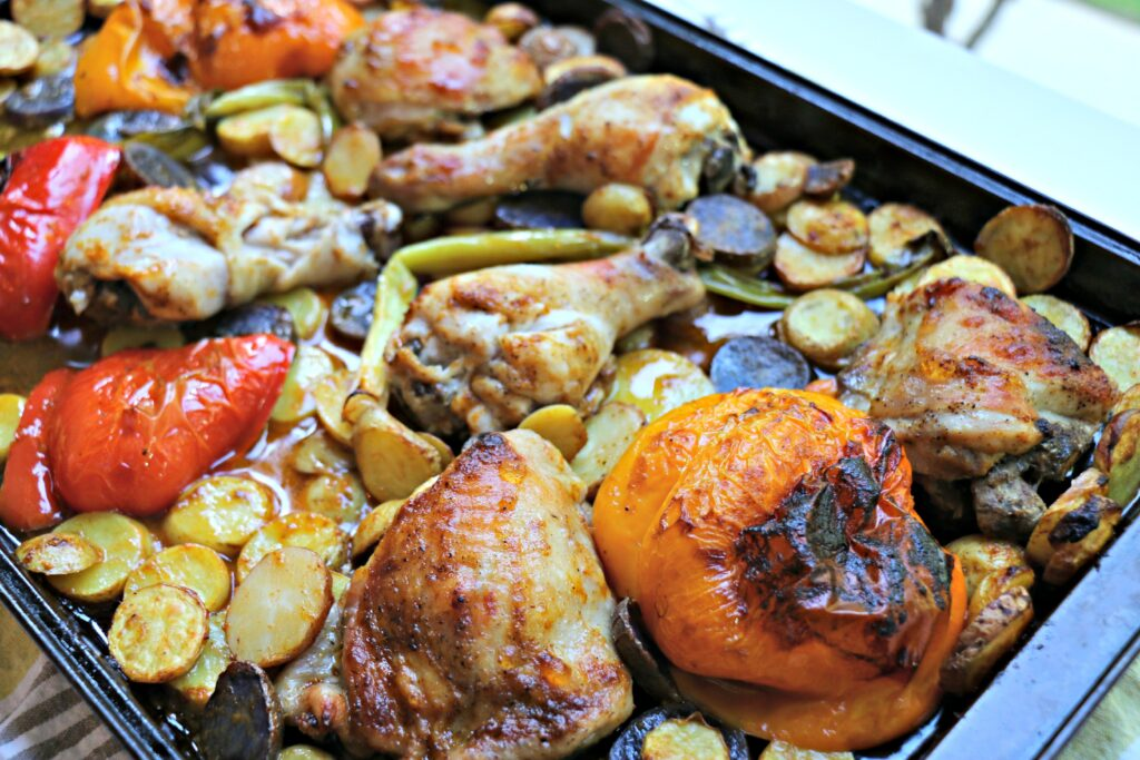 Harissa Chicken, Potatoes and Veg on a sheet pan