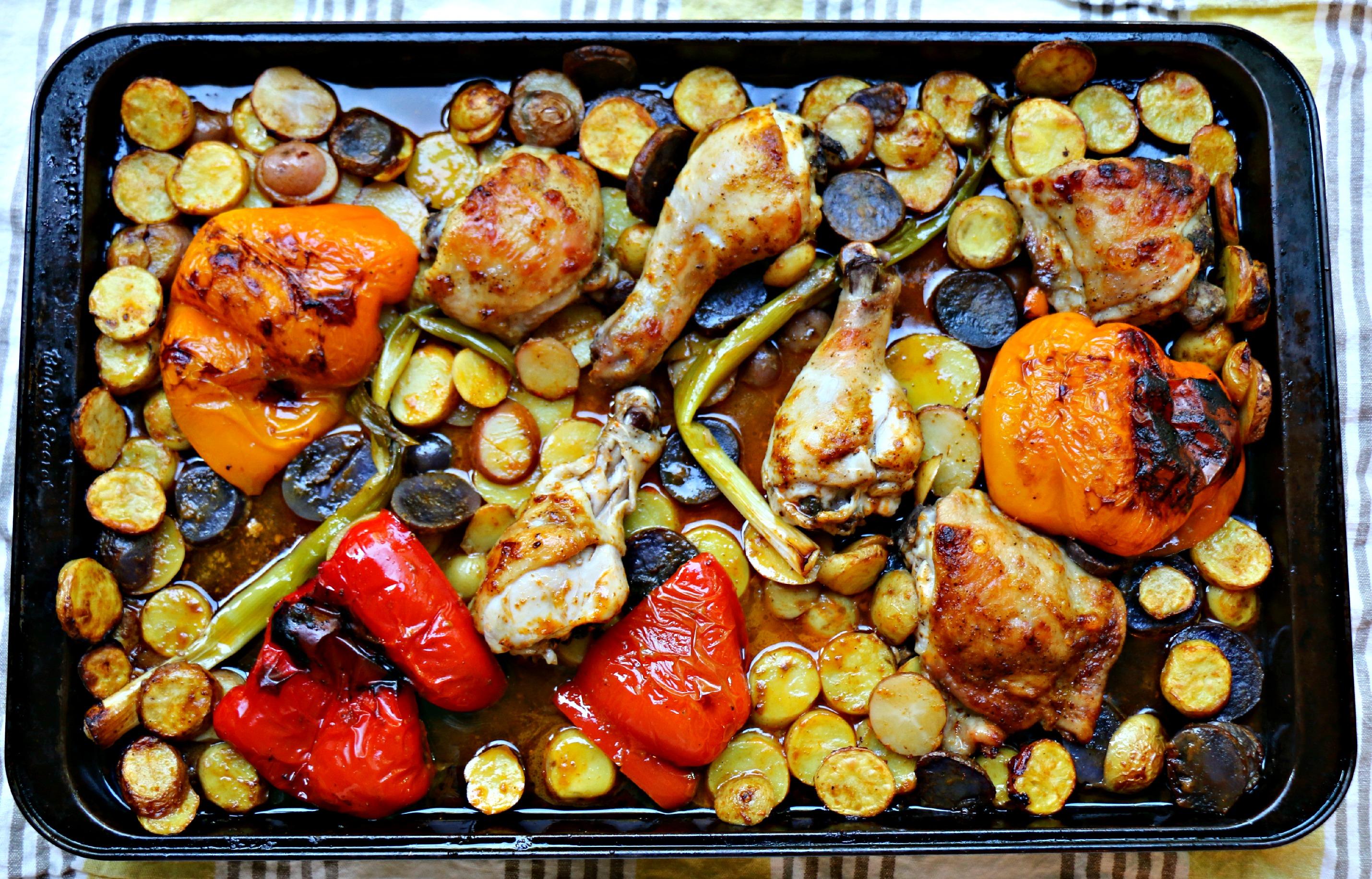 Harissa Chicken, Potatoes and Veg