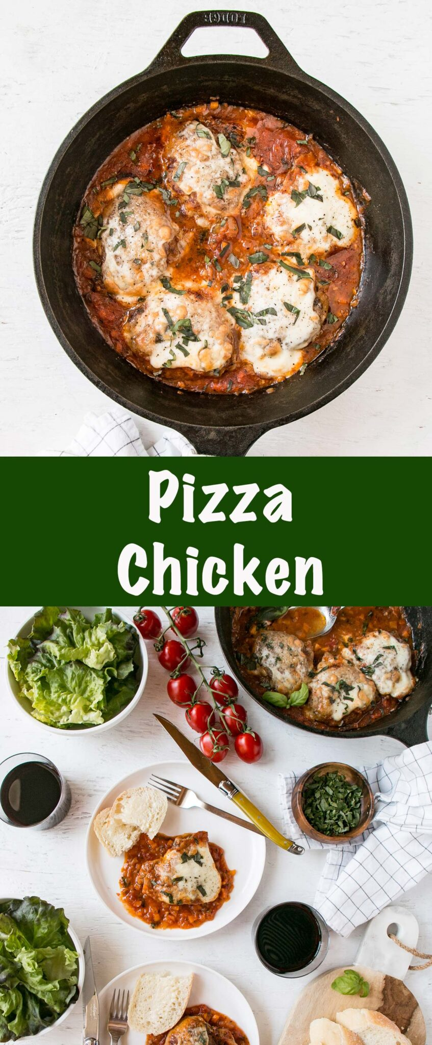 Pizza chicken in a cast iron skillet long collage