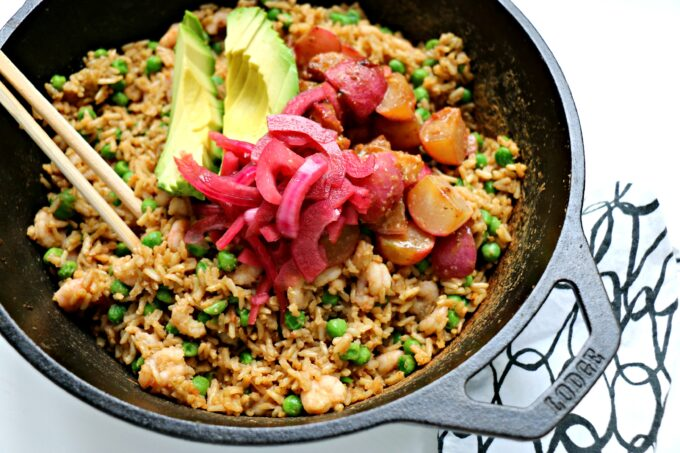 Dashi Fried Rice with Shrimp and Miso-Butter Radishes in a cast-iron pan