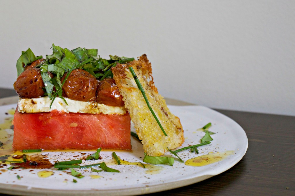 Watermelon, Feta, and Tomato Confit Stacked Salad
