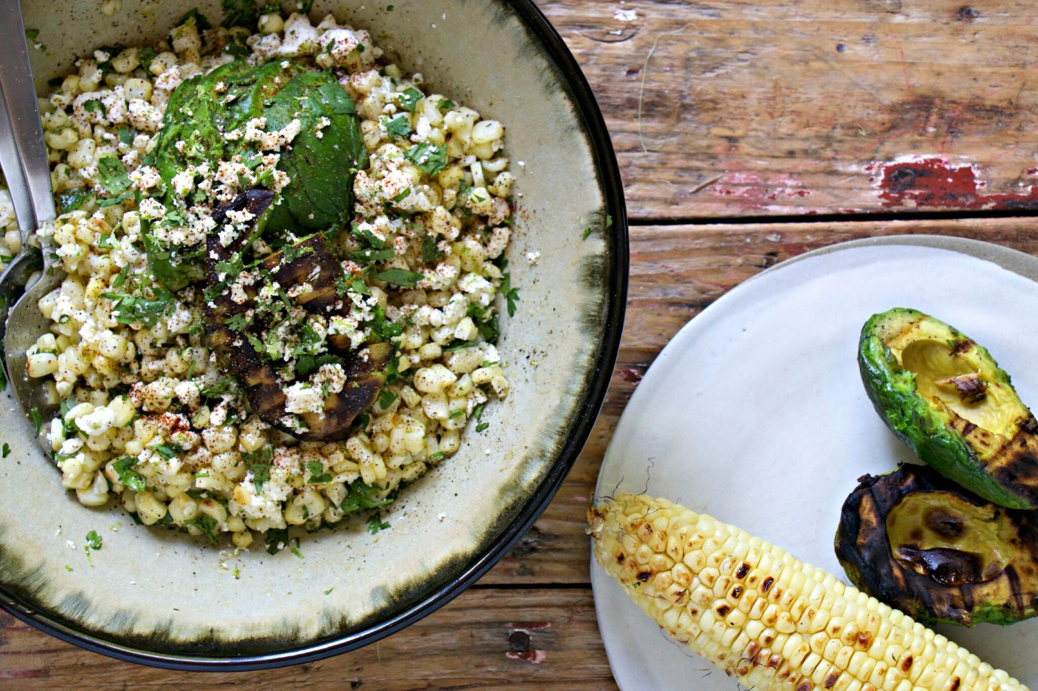 Grilled corn and avocado salad - My Kitchen Love Blog