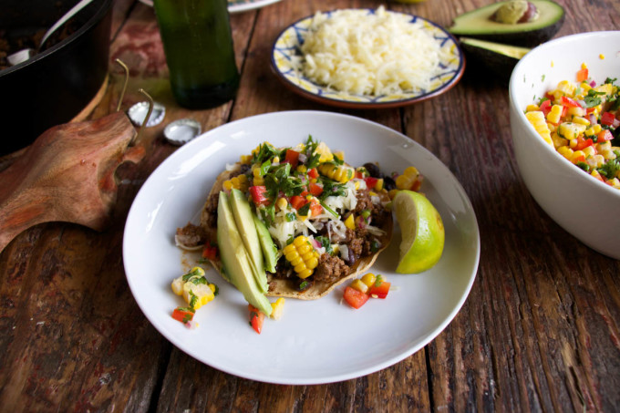 Beef Tacos with Corn, Lime and Cilantro Salsa