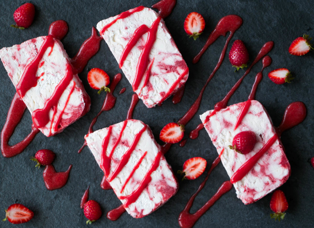 Strawberry Rosewater Semifreddo