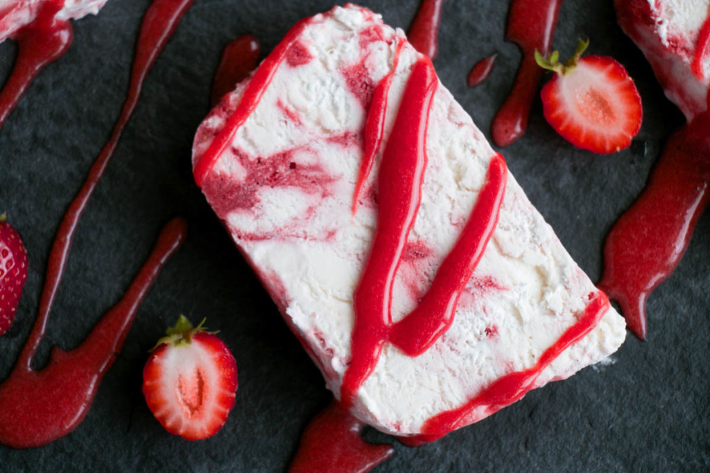 Strawberry Rosewater Semifreddo - My Kitchen Love