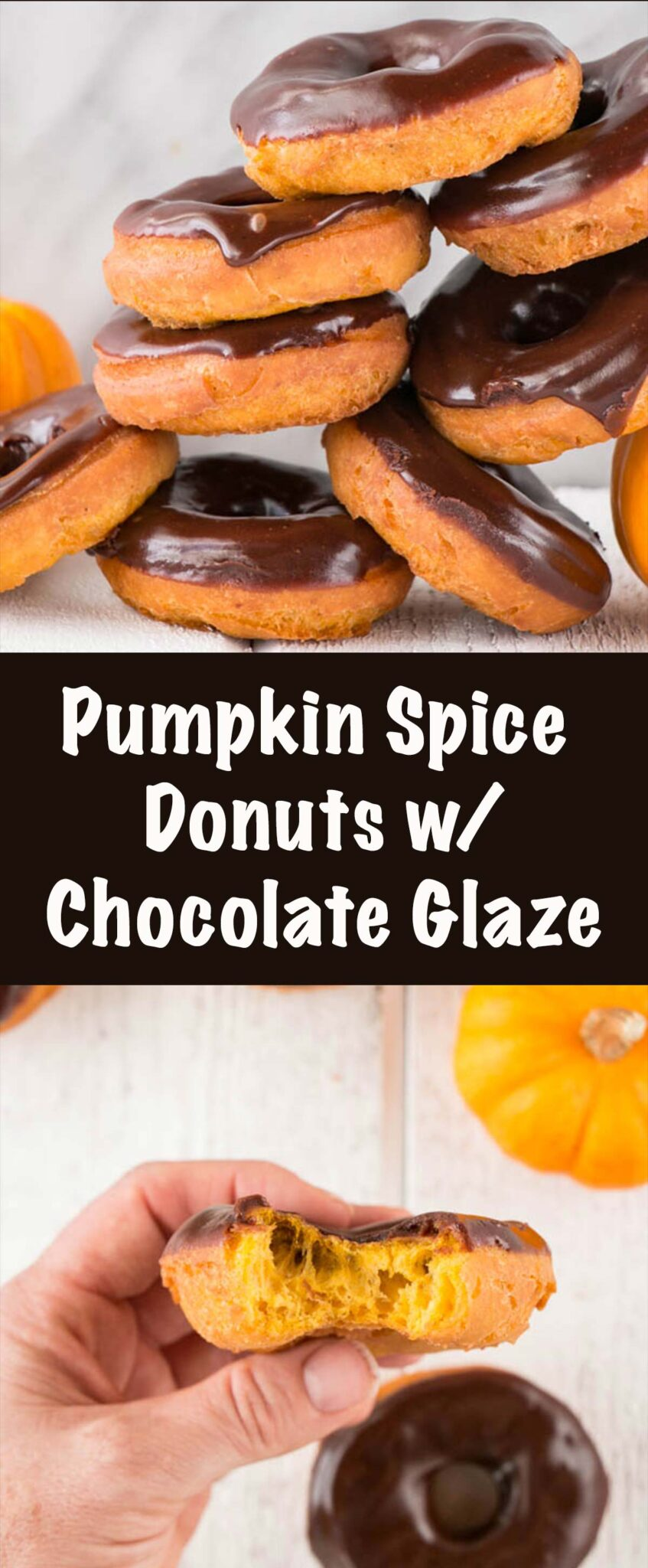 Long pin imagoes a tower of pumpkin spice donuts with chocolate glaze and a few donuts with a small gourd.
