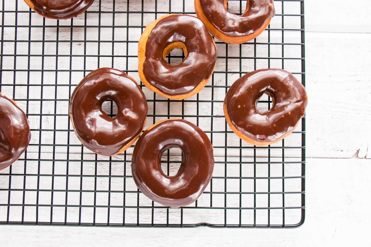 Pumpkin Spice Donuts with Chocolate Glaze on a black closing rack with a stark white background.