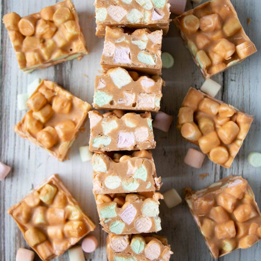 Peanut Butter Marshmallow Confetti Bars with rainbow mini marshmallows.