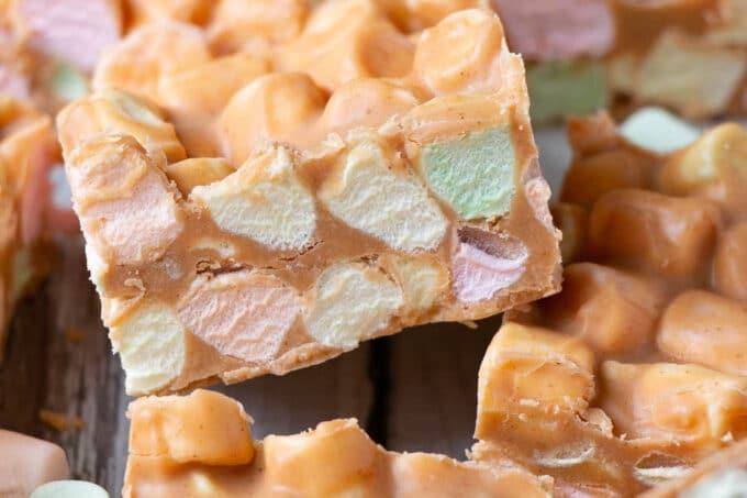 Peanut Butter Marshmallow Confetti Bars with rainbow mini marshmallows.