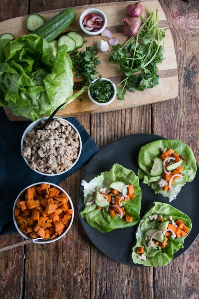 Thai Sweet Potato Lettuce Wraps | My Kitchen Love