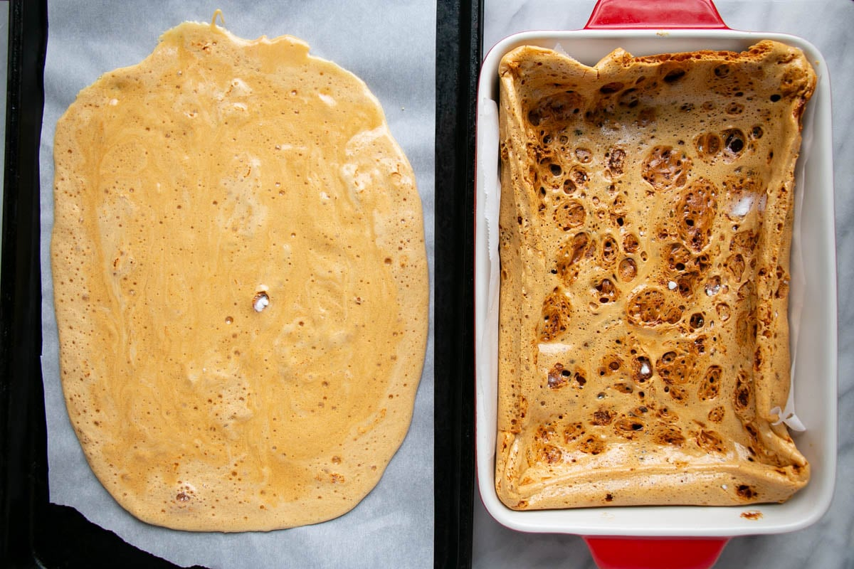 Homemade Honeycomb candy made 2 different ways, 1 light and thin, and 1 darker, thicker and more sponge like.