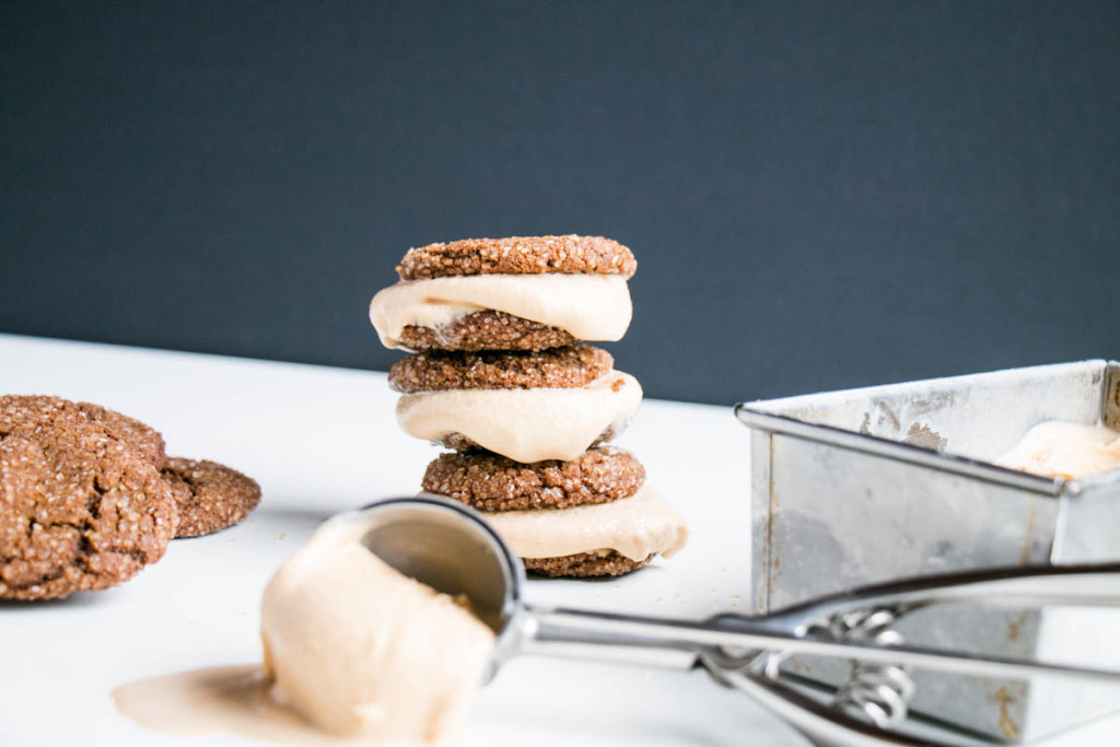 Ginger Molasses Cookies Brown Sugar Bourbon Ice Cream Sandwiches | My Kitchen Love