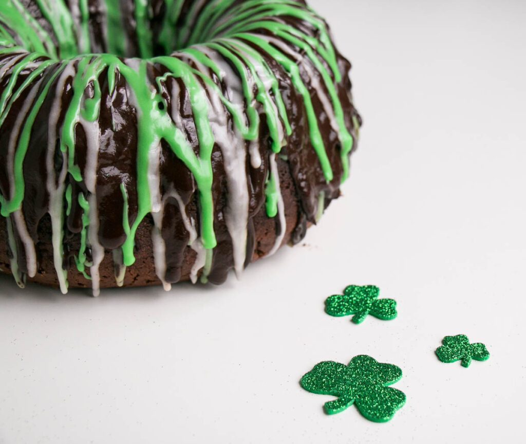 Chocolate Mint Chip Bundt Cake