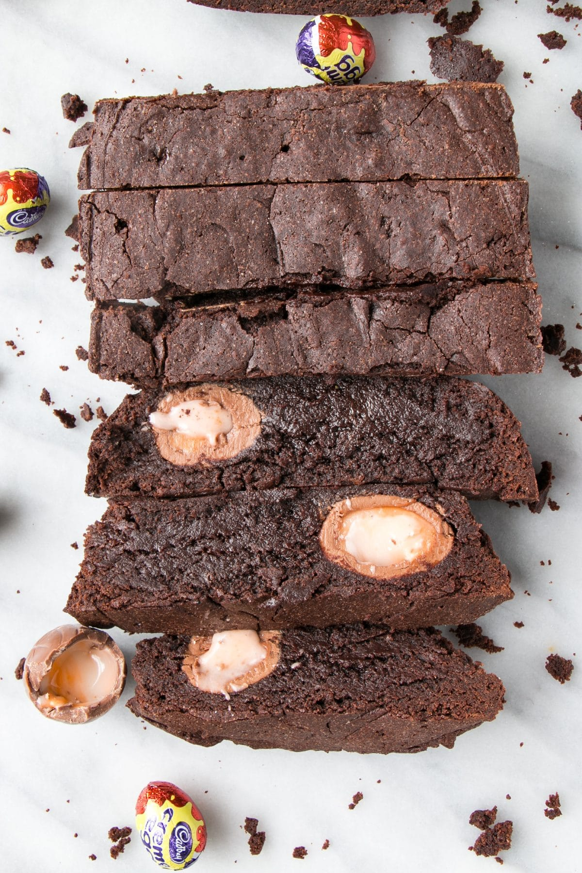 cut thick slices of Creme Egg Brownies