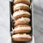 Brown Sugar Bourbon Ice Cream Sandwiches in a baking loaf tin.