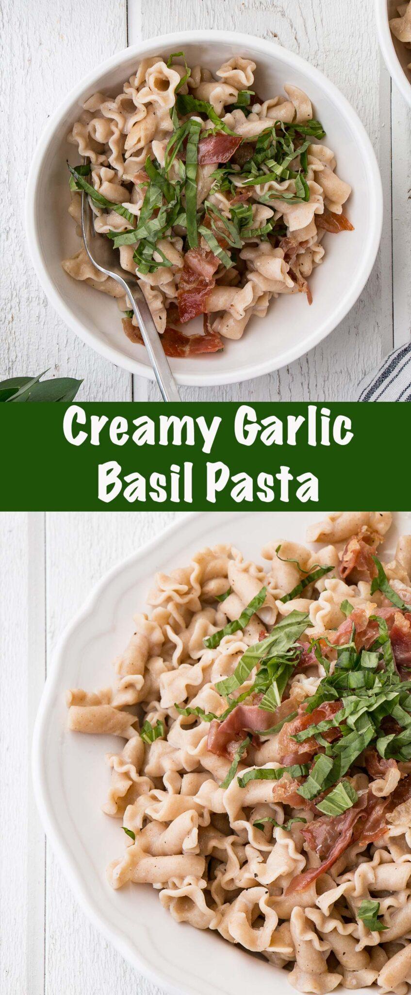Long collage of Creamy Garlic Basil Pasta