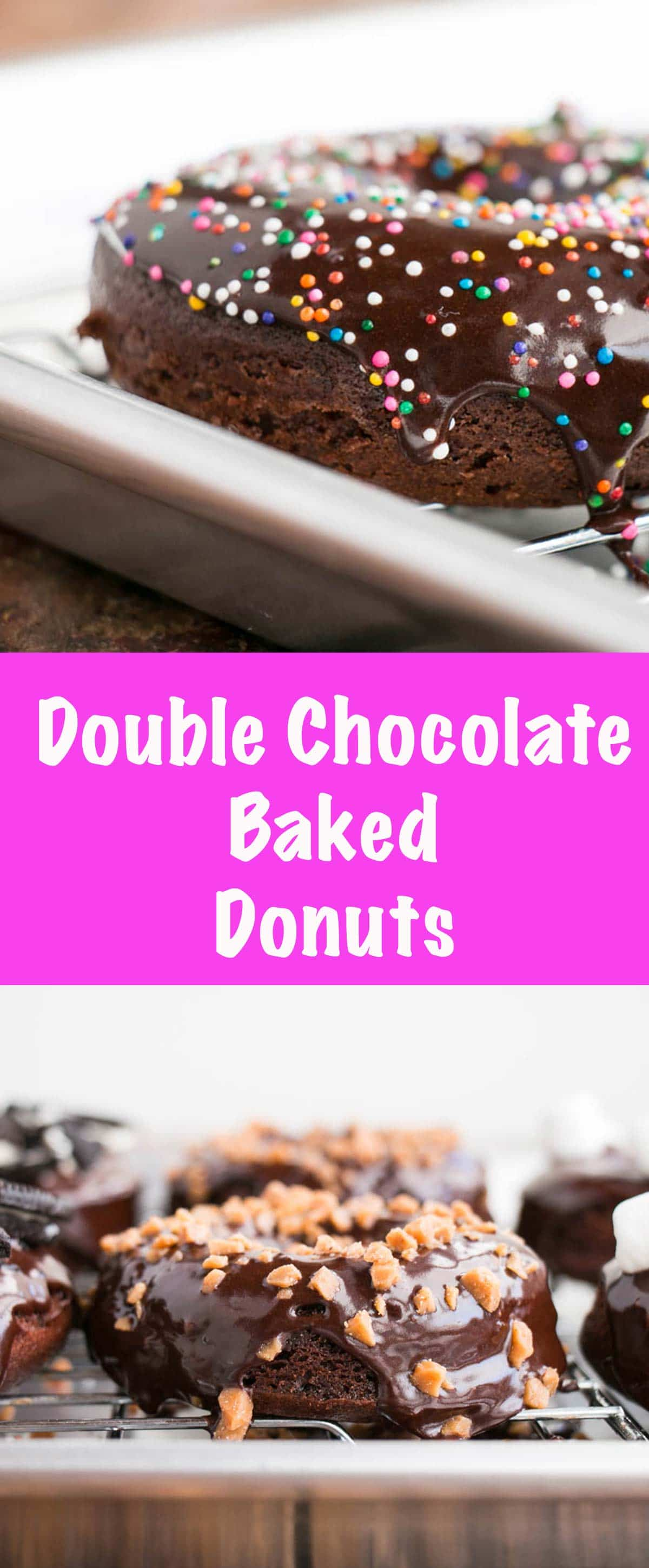 Baked Double Chocolate Donuts with a fudgy cake donut and the best chocolate glaze. #donuts