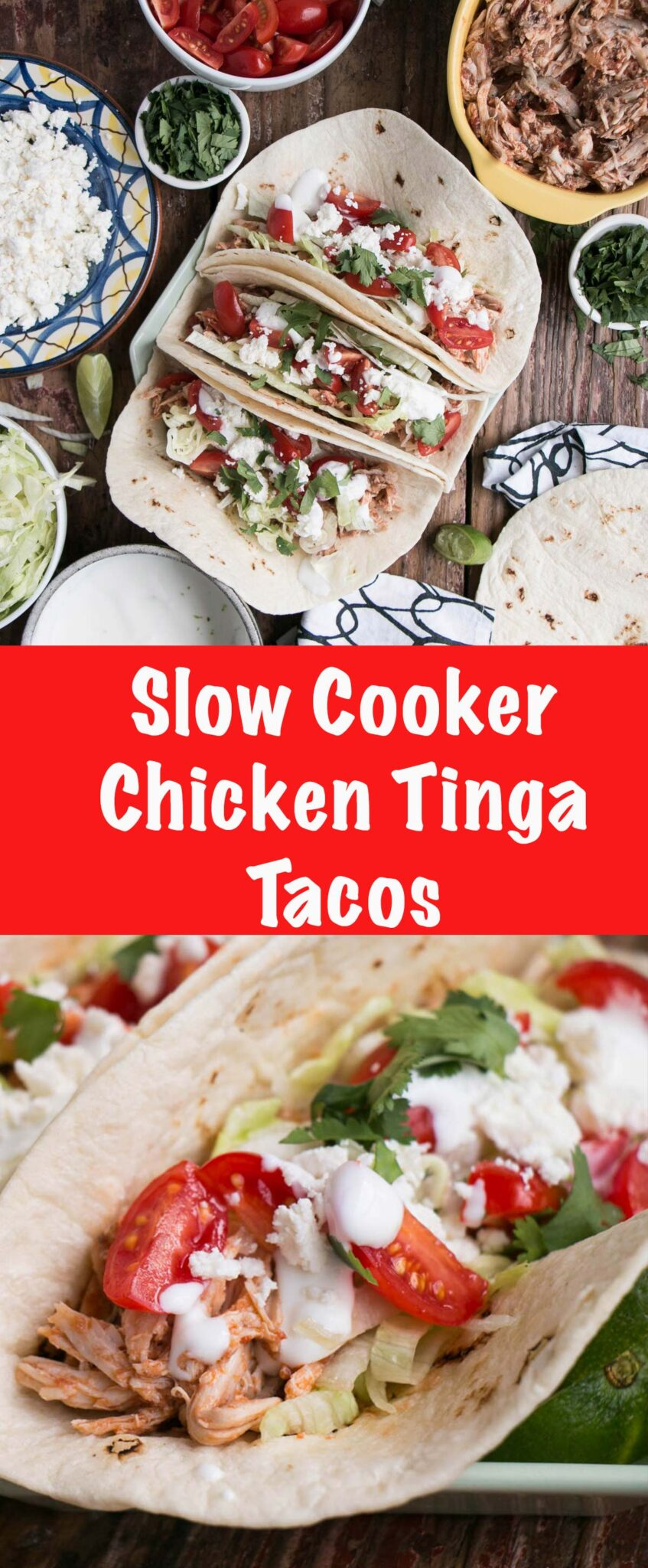 Slow Cooker Chicken Tinga Tacos are a delicious pulled chicken taco that comes together quickly in slow cooker! #slowcooker #chicken