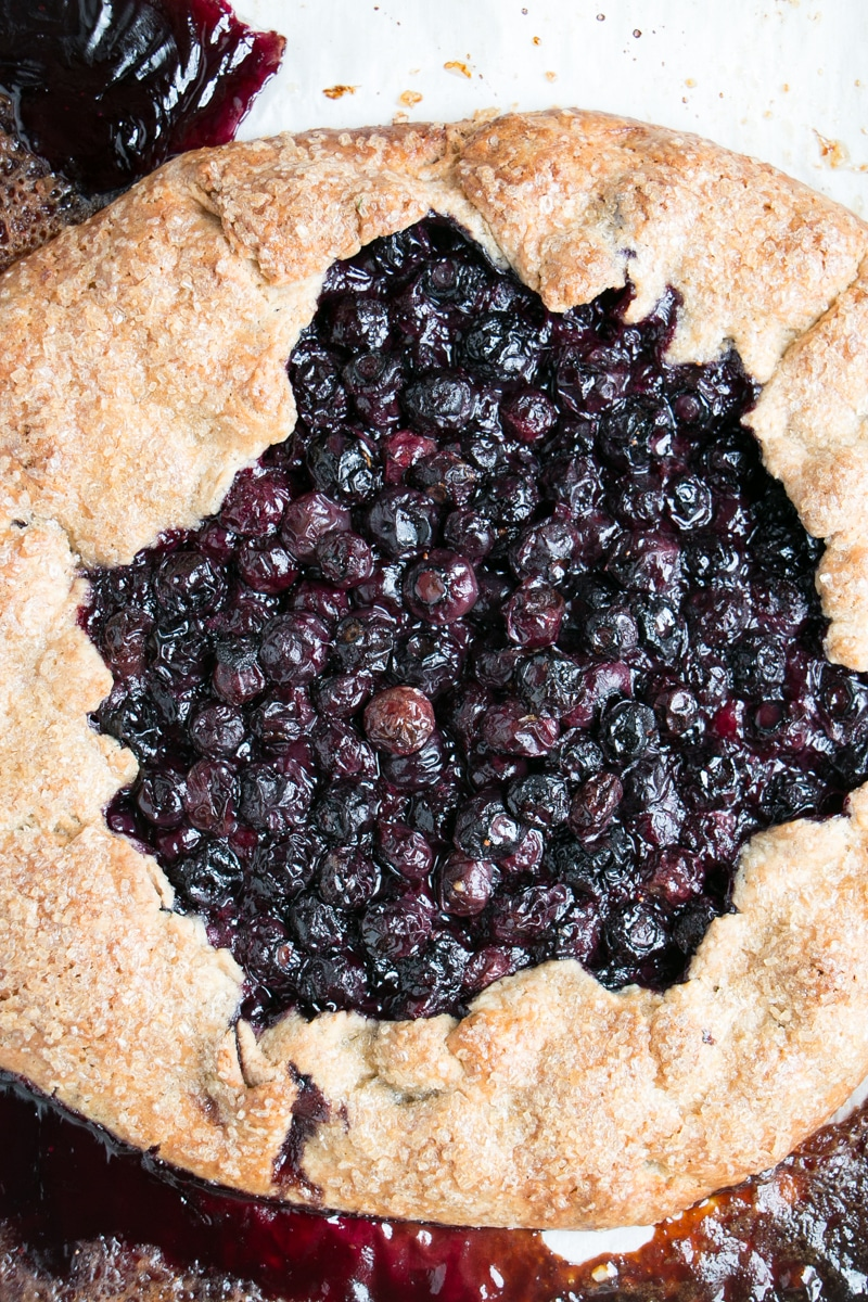 Blueberry Galette up close shot, fresh from the oven.