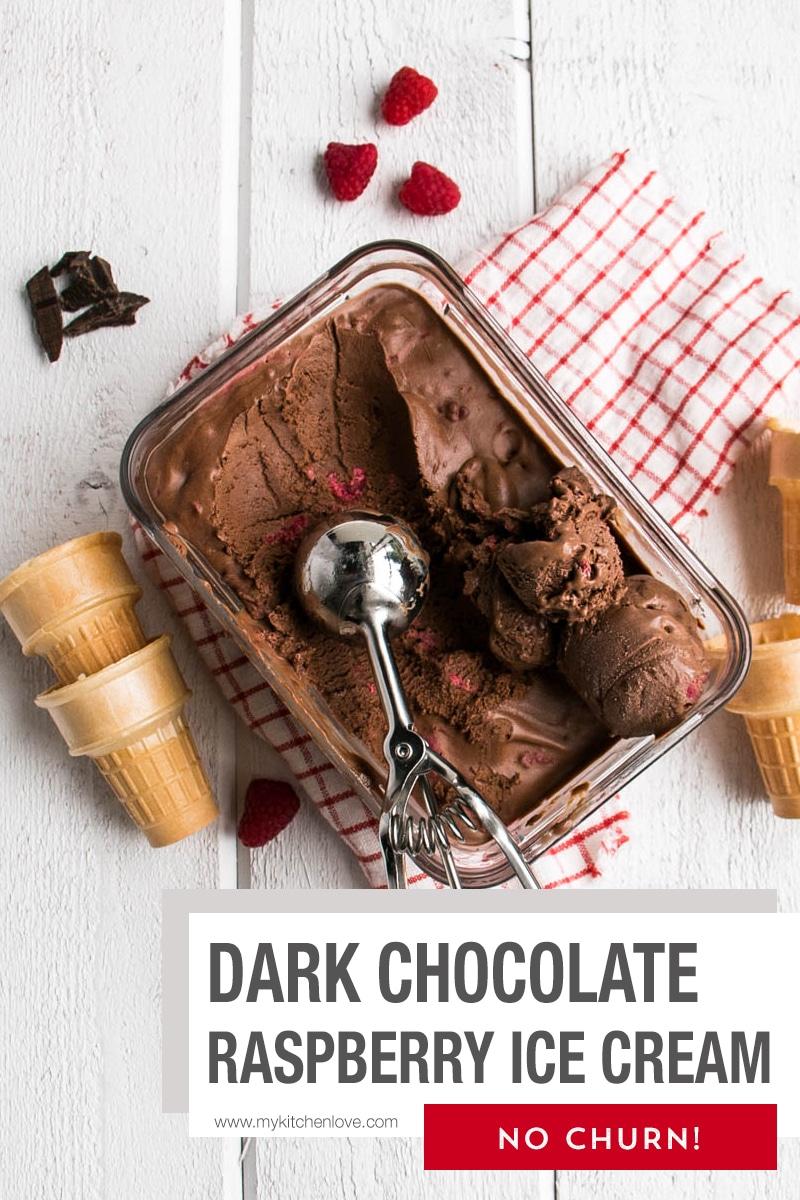 Dark Chocolate Raspberry No Churn Ice Cream is smooth, creamy and packed full of dark chocolate. 5 ingredients and no churn (no machine required!). via @mykitchenlove