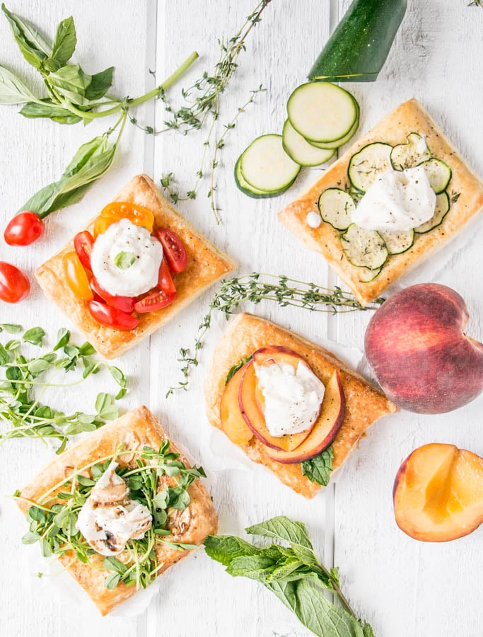 Puff Pastry Appetizers with seasonal summer produce.