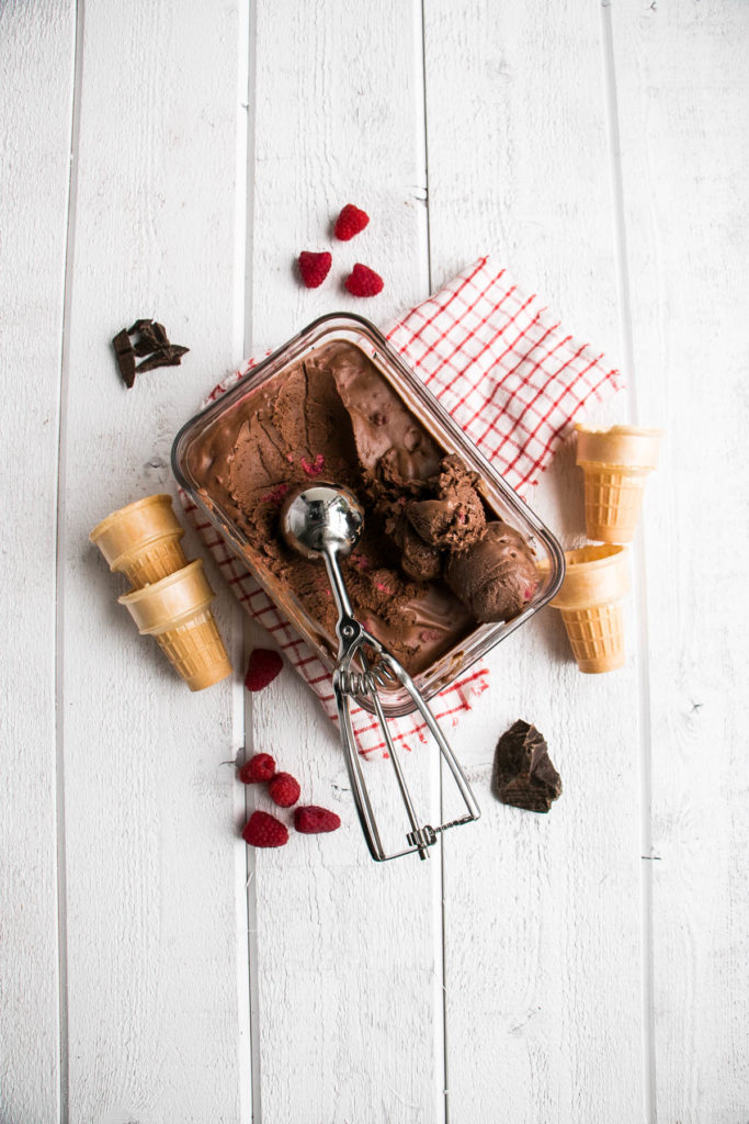 Dark Chocolate Raspberry Ice Cream | My Kitchen Love