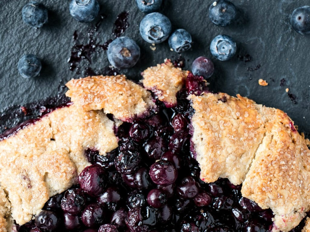 Blueberry Galette with Lemon Mascarpone Cream | My Kitchen Love. Easy rye pastry crust with lemon blueberry filling. #pie #dessert