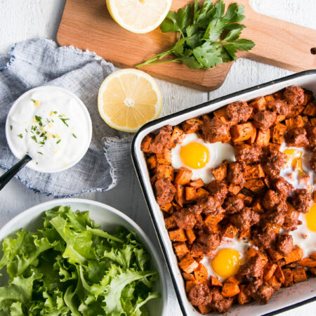 Harissa Sweet Potato Hash with Baked Eggs