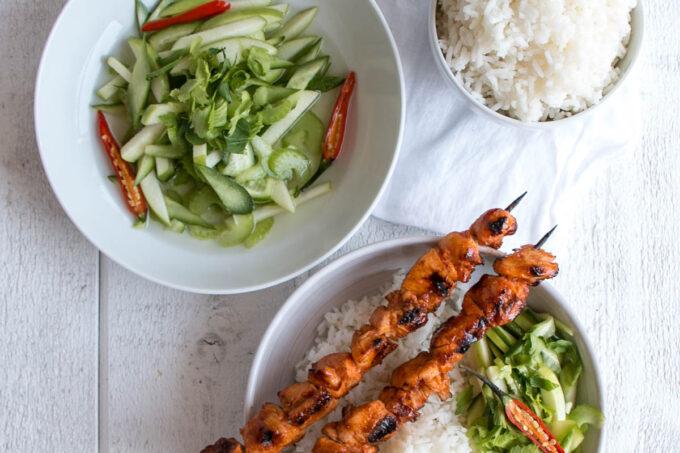 Grilled Korean Chicken Kebabs